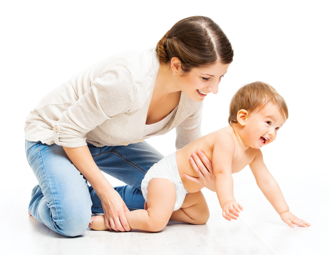 baby crawling assisted